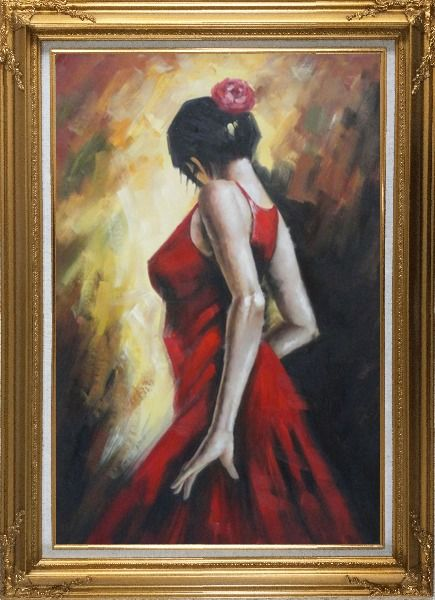 Framed Elegant Spanish Flamenco Dancer with Long Red Skirt Oil Painting Portraits Woman Impressionism Gold Wood Frame with Deco Corners 43 x 31 Inches