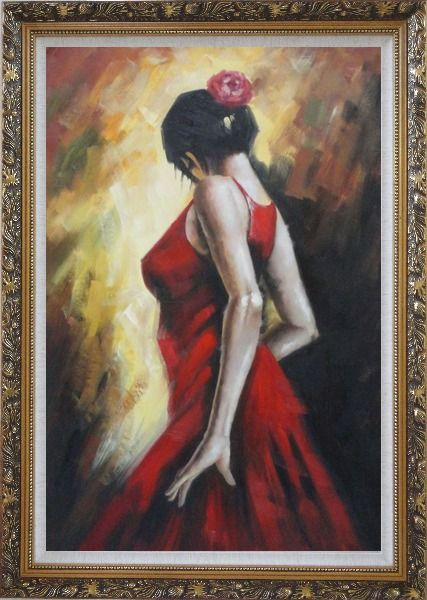 Framed Elegant Spanish Flamenco Dancer with Long Red Skirt Oil Painting Portraits Woman Impressionism Ornate Antique Dark Gold Wood Frame 42 x 30 Inches