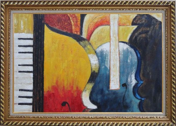Framed Piano, Cello, and Music Symbol Oil Painting Still Life Modern Exquisite Gold Wood Frame 30 x 42 Inches