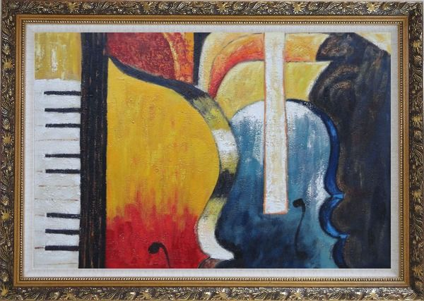 Framed Piano, Cello, and Music Symbol Oil Painting Still Life Modern Ornate Antique Dark Gold Wood Frame 30 x 42 Inches