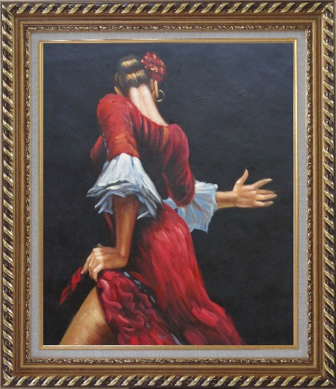 Framed Passion of Flamenco Oil Painting Portraits Woman Dancer Impressionism Exquisite Gold Wood Frame 30 x 26 Inches