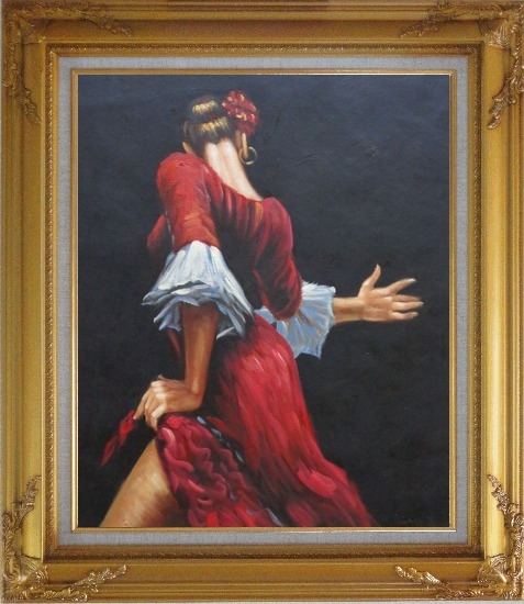 Framed Passion of Flamenco Oil Painting Portraits Woman Dancer Impressionism Gold Wood Frame with Deco Corners 31 x 27 Inches