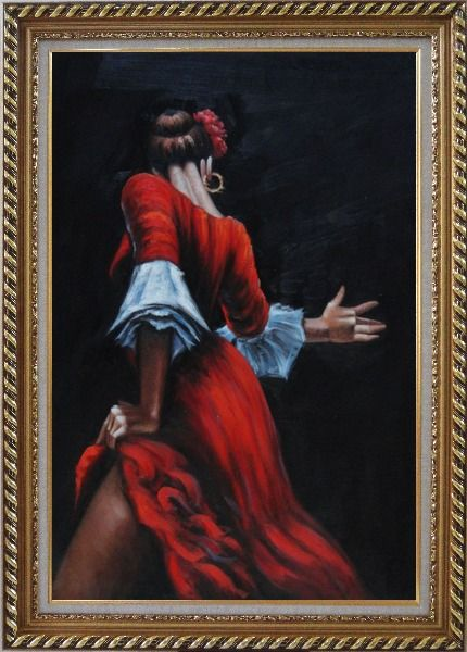 Framed Passion of Flamenco Oil Painting Portraits Woman Dancer Impressionism Exquisite Gold Wood Frame 42 x 30 Inches