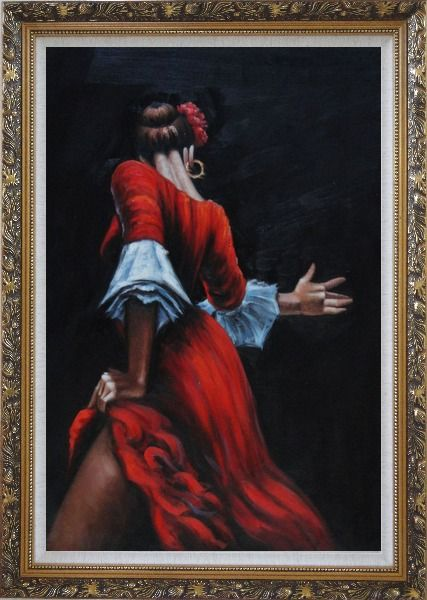 Framed Passion of Flamenco Oil Painting Portraits Woman Dancer Impressionism Ornate Antique Dark Gold Wood Frame 42 x 30 Inches