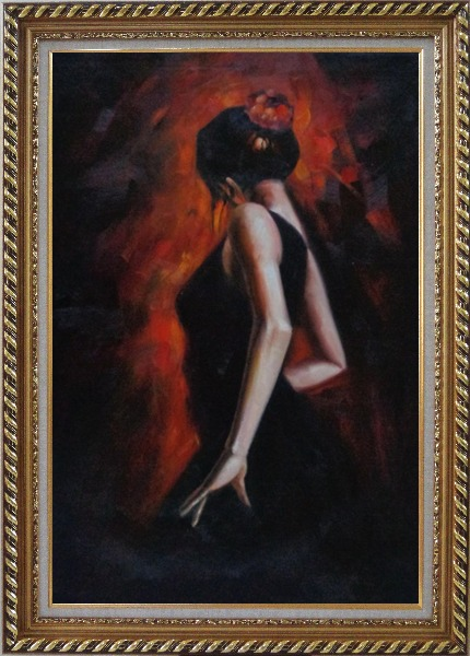 Framed Female Flamenco Dancer Oil Painting Portraits Woman Impressionism Exquisite Gold Wood Frame 42 x 30 Inches