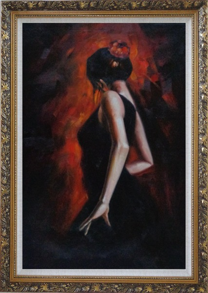 Framed Female Flamenco Dancer Oil Painting Portraits Woman Impressionism Ornate Antique Dark Gold Wood Frame 42 x 30 Inches