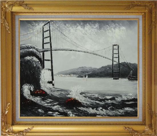 Framed Black and White San Francisco Golden Gate Bridge Oil Painting Seascape America Naturalism Gold Wood Frame with Deco Corners 27 x 31 Inches