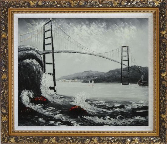 Framed Black and White San Francisco Golden Gate Bridge Oil Painting Seascape America Naturalism Ornate Antique Dark Gold Wood Frame 26 x 30 Inches
