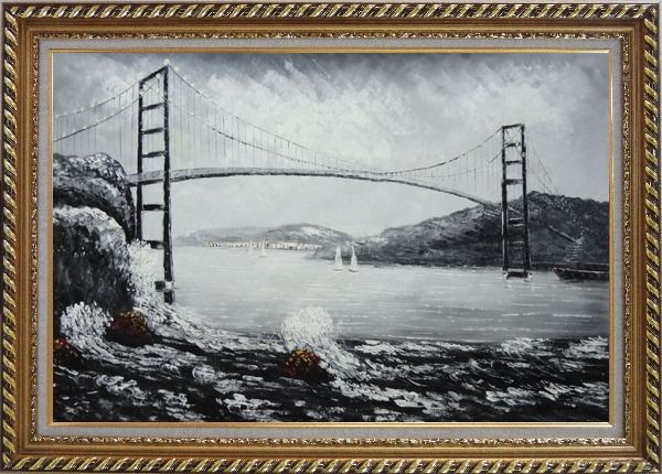 Black and White San Francisco Golden Gate Bridge Oil Painting ...