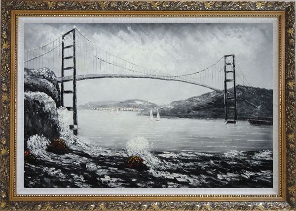 Framed Black and White San Francisco Golden Gate Bridge Oil Painting Seascape America Naturalism Ornate Antique Dark Gold Wood Frame 30 x 42 Inches