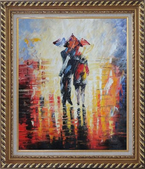 Framed Couple Walking Under Umbrella in Rain Oil Painting Portraits Impressionism Exquisite Gold Wood Frame 30 x 26 Inches