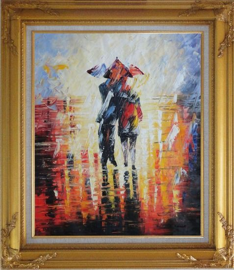 Framed Couple Walking Under Umbrella in Rain Oil Painting Portraits Impressionism Gold Wood Frame with Deco Corners 31 x 27 Inches