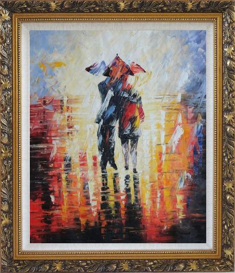 Framed Couple Walking Under Umbrella in Rain Oil Painting Portraits Impressionism Ornate Antique Dark Gold Wood Frame 30 x 26 Inches