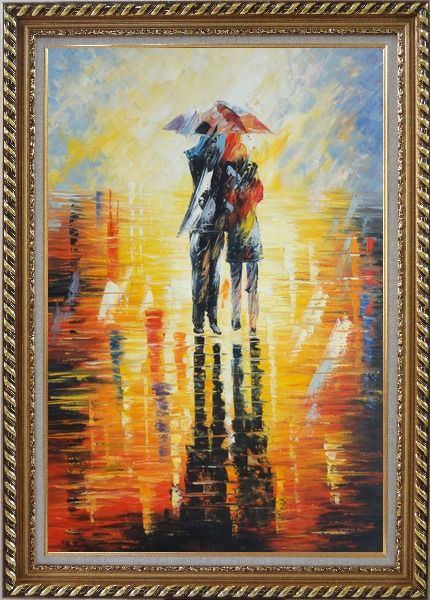 Framed Couple Walking Under Umbrella in Rain Oil Painting Portraits Impressionism Exquisite Gold Wood Frame 42 x 30 Inches