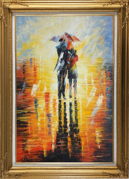Framed Couple Walking Under Umbrella in Rain Oil Painting Portraits Impressionism Gold Wood Frame with Deco Corners 43 x 31 Inches