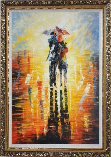 Framed Couple Walking Under Umbrella in Rain Oil Painting Portraits Impressionism Ornate Antique Dark Gold Wood Frame 42 x 30 Inches
