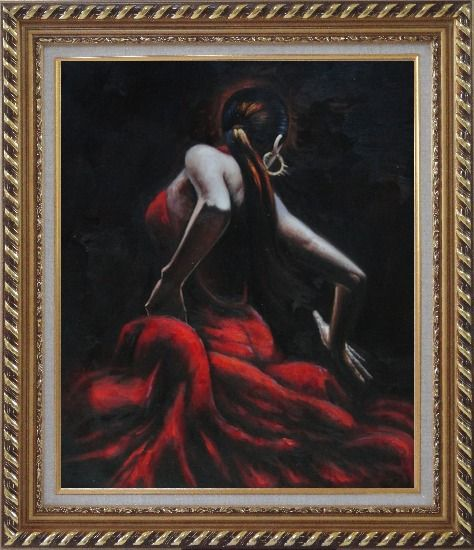 Framed Melody of Flamenco Oil Painting Portraits Woman Dancer Impressionism Exquisite Gold Wood Frame 30 x 26 Inches