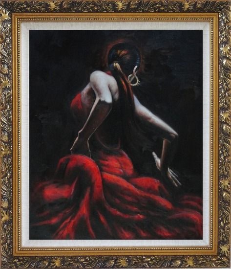 Framed Melody of Flamenco Oil Painting Portraits Woman Dancer Impressionism Ornate Antique Dark Gold Wood Frame 30 x 26 Inches