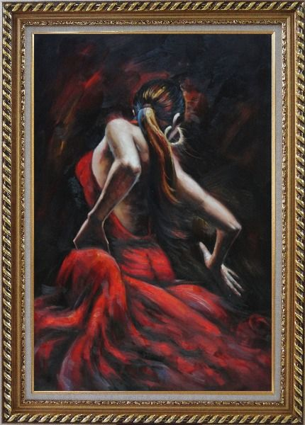 Framed Melody of Flamenco Oil Painting Portraits Woman Dancer Impressionism Exquisite Gold Wood Frame 42 x 30 Inches