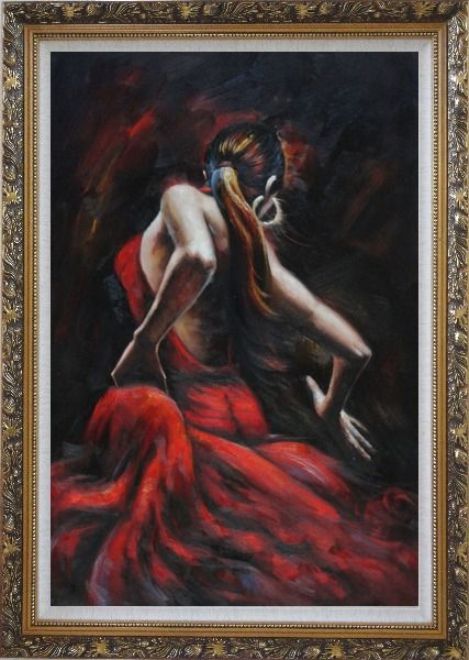 Framed Melody of Flamenco Oil Painting Portraits Woman Dancer Impressionism Ornate Antique Dark Gold Wood Frame 42 x 30 Inches