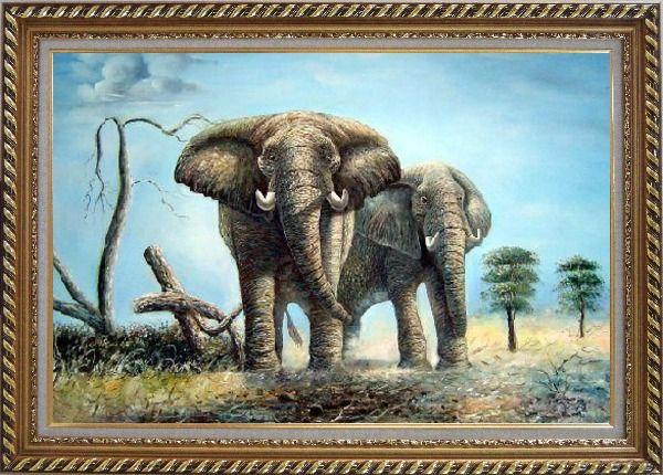 Framed Pair of Walking Elephants Oil Painting Animal Naturalism Exquisite Gold Wood Frame 30 x 42 Inches