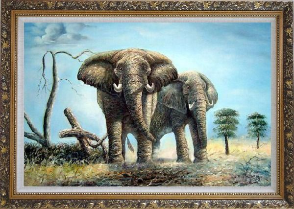 Framed Pair of Walking Elephants Oil Painting Animal Naturalism Ornate Antique Dark Gold Wood Frame 30 x 42 Inches