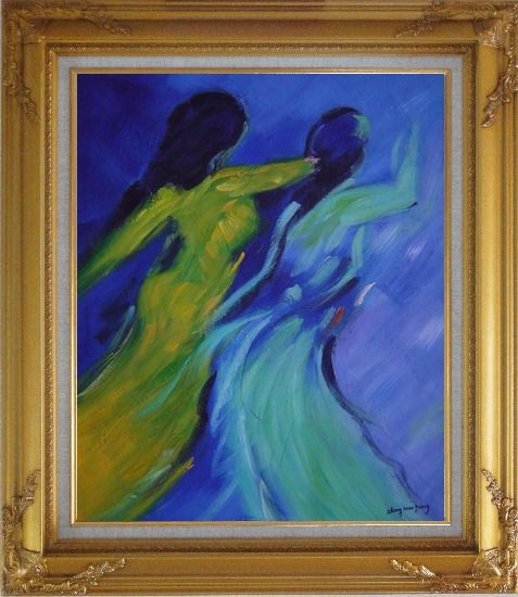 Framed Women in Wind Oil Painting Portraits Woman Modern Gold Wood Frame with Deco Corners 31 x 27 Inches