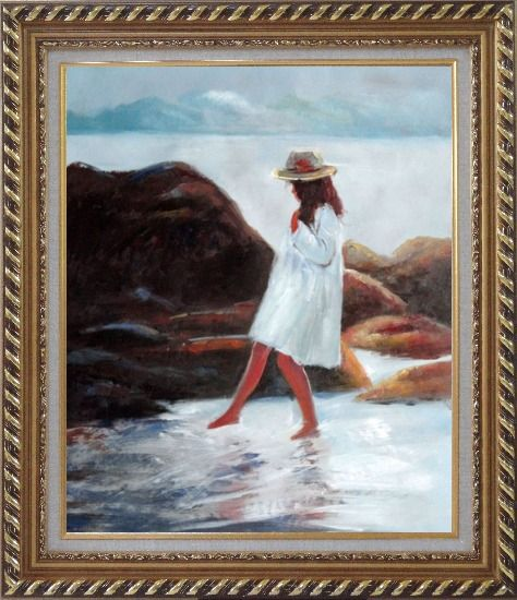 Framed A Loverly Young Girl Playing Water at Beach Oil Painting Portraits Child Impressionism Exquisite Gold Wood Frame 30 x 26 Inches