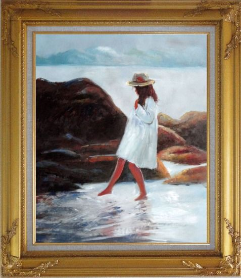 Framed A Loverly Young Girl Playing Water at Beach Oil Painting Portraits Child Impressionism Gold Wood Frame with Deco Corners 31 x 27 Inches