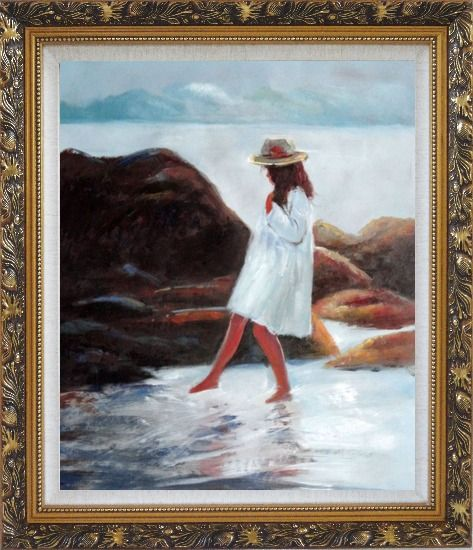 Framed A Loverly Young Girl Playing Water at Beach Oil Painting Portraits Child Impressionism Ornate Antique Dark Gold Wood Frame 30 x 26 Inches