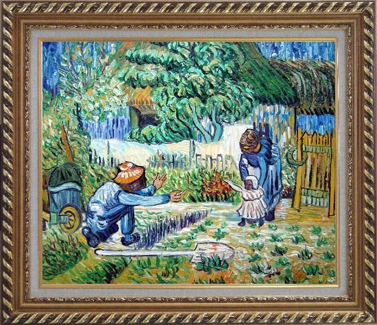 Framed First Steps, Farmer's Life, Van Gogh Oil Painting Village Post Impressionism Exquisite Gold Wood Frame 26 x 30 Inches