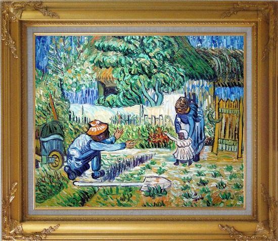 Framed First Steps, Farmer's Life, Van Gogh Oil Painting Village Post Impressionism Gold Wood Frame with Deco Corners 27 x 31 Inches