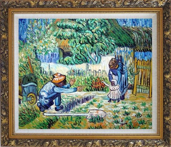 Framed First Steps, Farmer's Life, Van Gogh Oil Painting Village Post Impressionism Ornate Antique Dark Gold Wood Frame 26 x 30 Inches