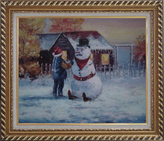 Framed Make a Snowman In Christmas Oil Painting Portraits Child Impressionism Exquisite Gold Wood Frame 26 x 30 Inches