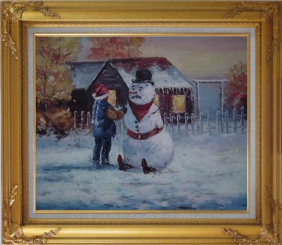 Framed Make a Snowman In Christmas Oil Painting Portraits Child Impressionism Gold Wood Frame with Deco Corners 27 x 31 Inches