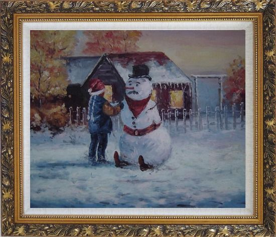 Framed Make a Snowman In Christmas Oil Painting Portraits Child Impressionism Ornate Antique Dark Gold Wood Frame 26 x 30 Inches