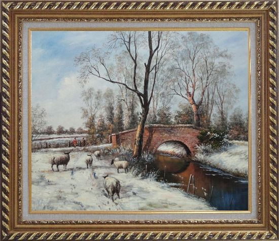 Framed Sheep at White Snow Covered Riverside in Winter Oil Painting Animal Classic Exquisite Gold Wood Frame 26 x 30 Inches