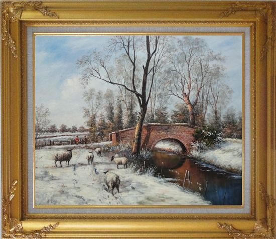 Framed Sheep at White Snow Covered Riverside in Winter Oil Painting Animal Classic Gold Wood Frame with Deco Corners 27 x 31 Inches
