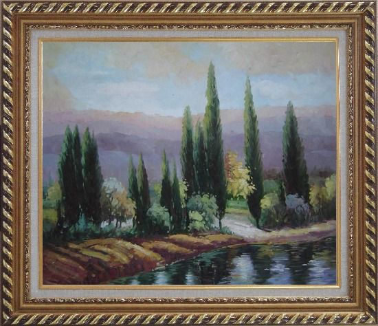 Framed Tall Green Trees on River Bank Oil Painting Landscape Classic Exquisite Gold Wood Frame 26 x 30 Inches