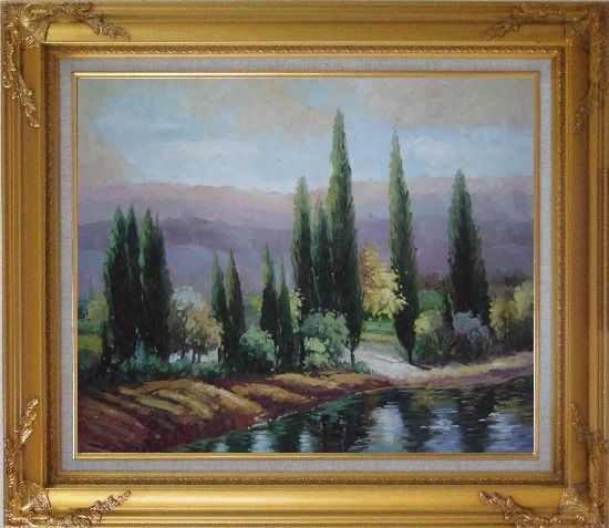 Framed Tall Green Trees on River Bank Oil Painting Landscape Classic Gold Wood Frame with Deco Corners 27 x 31 Inches