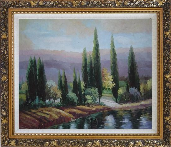 Framed Tall Green Trees on River Bank Oil Painting Landscape Classic Ornate Antique Dark Gold Wood Frame 26 x 30 Inches