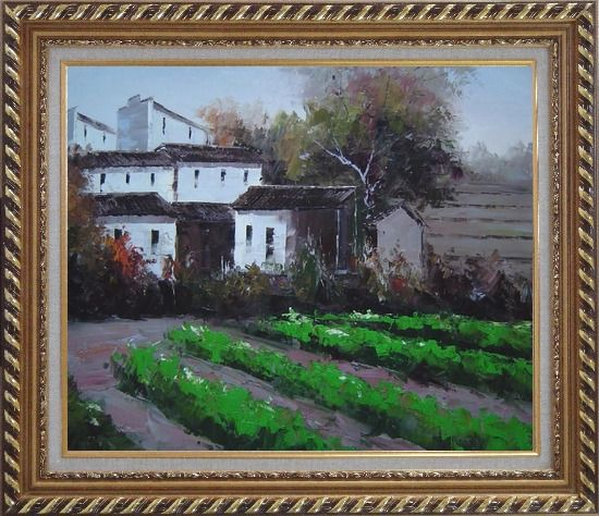 Framed Green Vegetable Field Near a Farm Village Oil Painting Impressionism Exquisite Gold Wood Frame 26 x 30 Inches