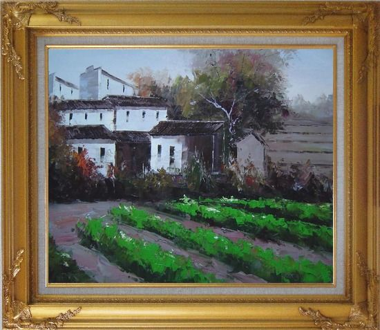 Framed Green Vegetable Field Near a Farm Village Oil Painting Impressionism Gold Wood Frame with Deco Corners 27 x 31 Inches