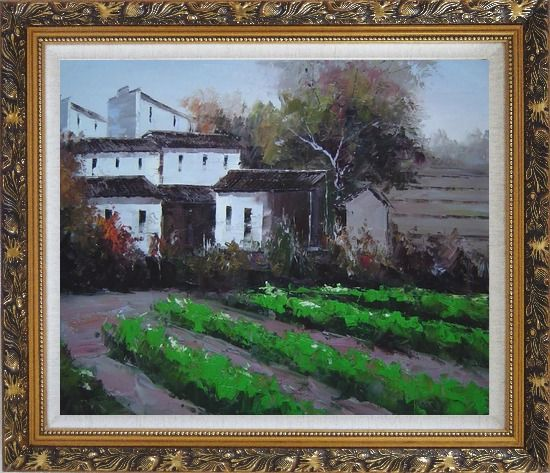 Framed Green Vegetable Field Near a Farm Village Oil Painting Impressionism Ornate Antique Dark Gold Wood Frame 26 x 30 Inches