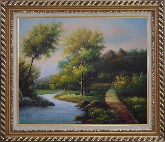 Framed Trees, Wild Flowers Path, and Winding Small River Oil Painting Landscape Classic Exquisite Gold Wood Frame 26 x 30 Inches