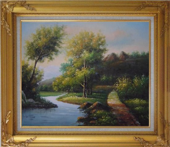 Framed Trees, Wild Flowers Path, and Winding Small River Oil Painting Landscape Classic Gold Wood Frame with Deco Corners 27 x 31 Inches