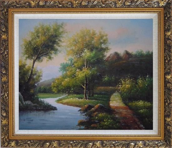 Framed Trees, Wild Flowers Path, and Winding Small River Oil Painting Landscape Classic Ornate Antique Dark Gold Wood Frame 26 x 30 Inches