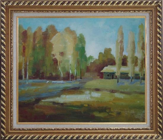 Framed Poplars Near Village Oil Painting Landscape Tree Impressionism Exquisite Gold Wood Frame 26 x 30 Inches