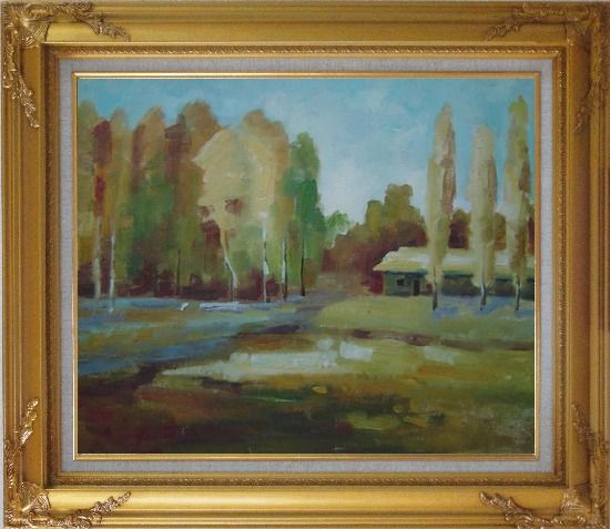 Framed Poplars Near Village Oil Painting Landscape Tree Impressionism Gold Wood Frame with Deco Corners 27 x 31 Inches