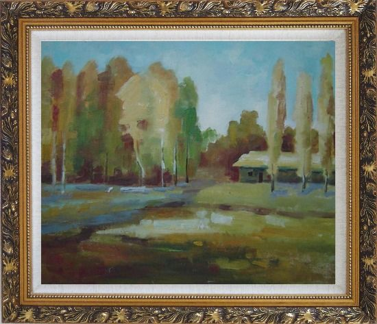 Framed Poplars Near Village Oil Painting Landscape Tree Impressionism Ornate Antique Dark Gold Wood Frame 26 x 30 Inches